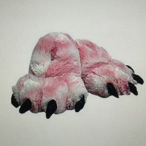 Wishpets Pink Fuzzy Clawed Slippers Large (10-12)